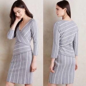 Anthropologie | Maeve Striped Faux Wrap Dress